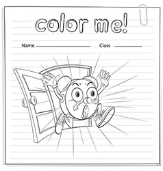 Coloring worksheet with a clock vector