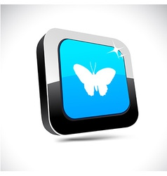 Butterfly 3d square button vector
