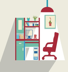 Office flat set of office furniture vector