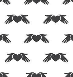 heart hands seamless pattern vector image
