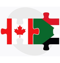 Canada and sudan flags vector