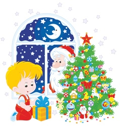 Santa and boy with christmas gift vector