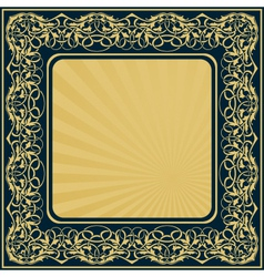 Gold frame with floral ornamental border vector
