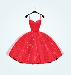 Red vintage style party dress vector