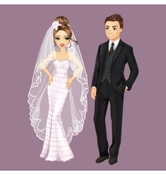 Fashion bride and groom vector