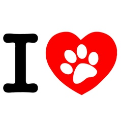 White Paw Print In A Heart And Letter I vector image
