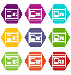 atm icon set color hexahedron vector image