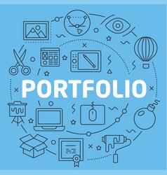 blue line flat circle portfolio vector image