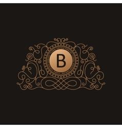 Calligraphic Luxury logo Emblem elegant decor vector image vector image