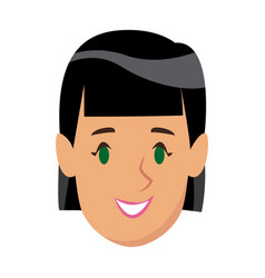Cartoon beauty girl smiling portrait female vector