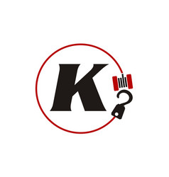 Crane hook towing letter k vector
