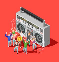 dancing isometric concept vector image