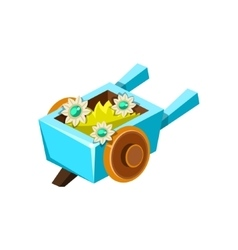 Decorative wheel barrel isometric garden vector
