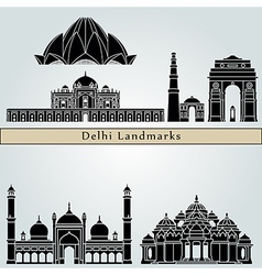 Delhi landmarks and monuments vector