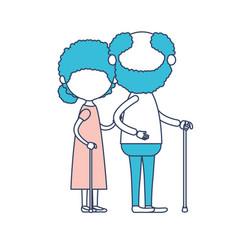 faceless full body elderly couple in walking stick vector image