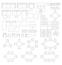 Furniture set icons for living room vector