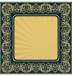 gold frame with floral ornamental border vector image