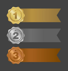 Gold silver and bronze ribbons metal badges vector