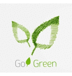 Green leaf hand drawn concept vector image