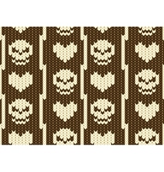 hearts and skull knitted pattern vector image