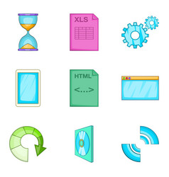 Interaction program icons set cartoon style vector