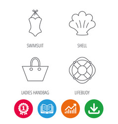 Ladies handbag shell and swimsuit icons vector