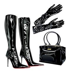 Leather latex bag boots elegant fashion vector