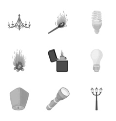 Light source set icons in monochrome style Big vector image vector image