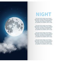 Night banner and poster with moon vector
