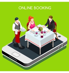 Online Booking Isometric People vector image vector image