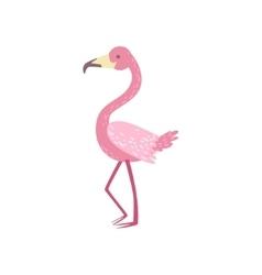 Pink flamingo stylized childish drawing vector