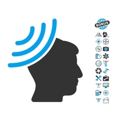 Radio reception mind icon with copter tools bonus vector