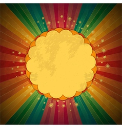 retro rainbow starburst and border vector image