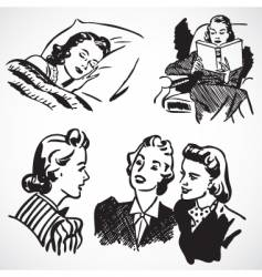Retro women at home vector