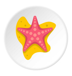 Sea star icon circle vector