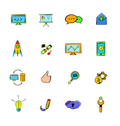 Seo icons set cartoon vector