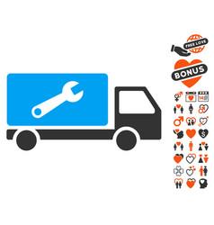 Service car icon with love bonus vector