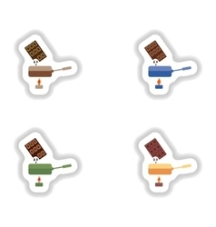 Set stylish paper stickers chocolate fondue on vector