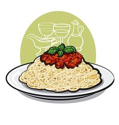 spaghetti bolognese vector image