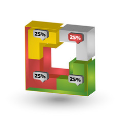 square three dimensional chart for infographic vector image