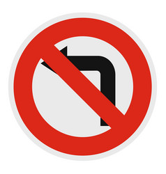 turn is prohibited icon flat style vector image vector image