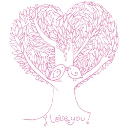 Two birds on love tree vector image
