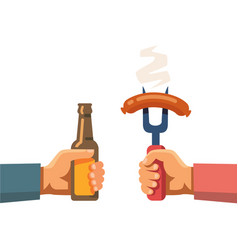 Two hands holding beer botle and sausage on fork vector