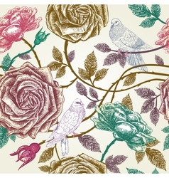 Vintage roses seamless pattern with birds vector image