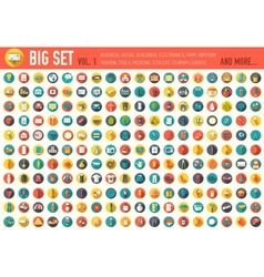 Vol 1 flat big collection set icon of medical vector