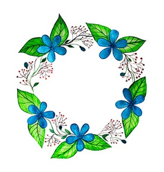 Watercolor spring wreath with blue flowers and vector