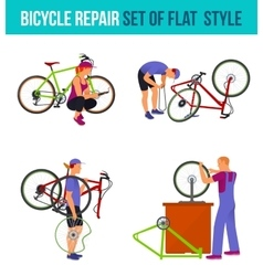 Repair broken bicycle vector