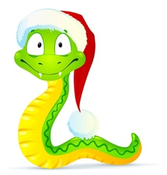 Green snake in blue santas hat vector