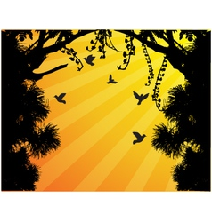 Nature tree silhouette with bird flying vector