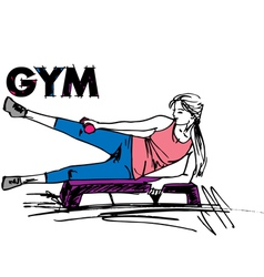 Woman on gym vector